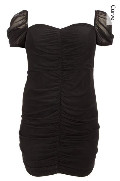 Curve Black Mesh Puff Sleeve Dress